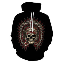 Load image into Gallery viewer, Butterfly skull cool 3D digital printing hooded sweater