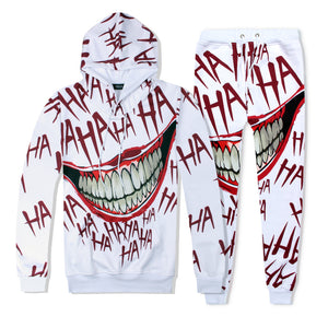Funny cartoon anime clown 3D printed hooded sweater and pants suit