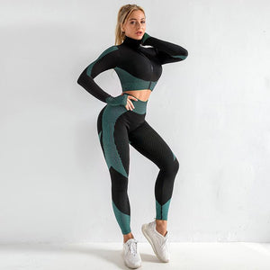 Seamless knitted long sleeve hip lifting stretch Fitness Yoga two piece set