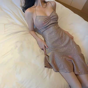 Spaghetti irregular design sequin dress