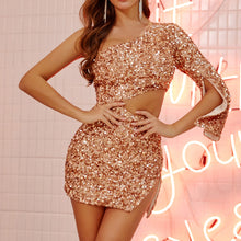Load image into Gallery viewer, One-shoulder miniskirt high waist hollow sequin dress