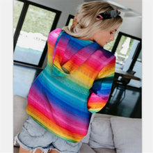 Load image into Gallery viewer, Fashion rainbow cat printed pocket women's sweater