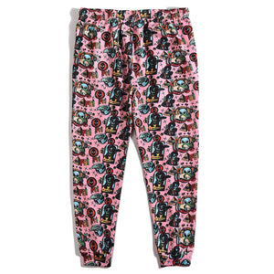 Skull print knitted casual trousers
