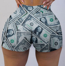 Load image into Gallery viewer, Money print sexy booty shorts