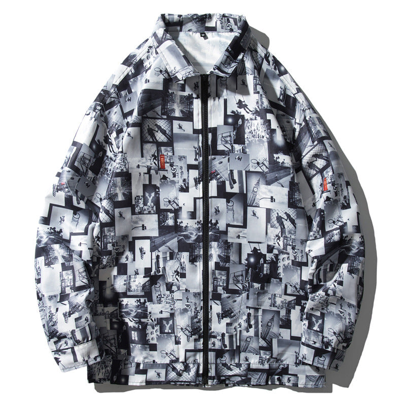 Digital printed casual lapel zipper jacket