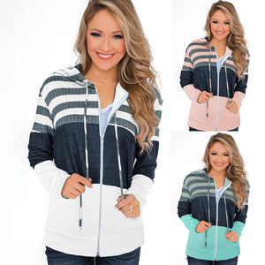 Loose long sleeve zipper contrast coat