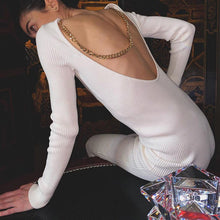 Load image into Gallery viewer, Chain halter long sleeve hip dress