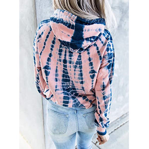Loose tie dye printed hooded long sleeve sweater
