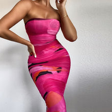 Load image into Gallery viewer, Contrast sexy tight wrap chest and hip dress