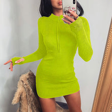 Load image into Gallery viewer, V-neck waist long sleeve hip dress