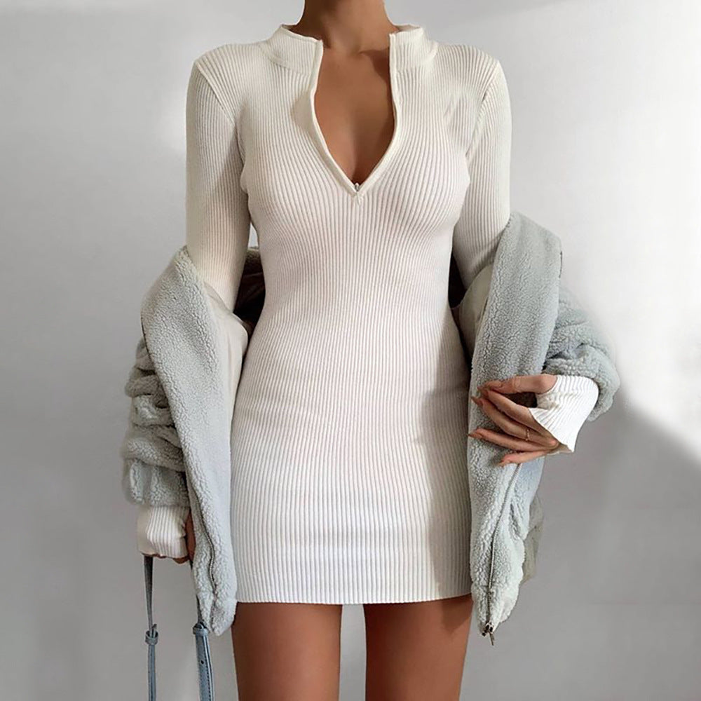 V-neck waist long sleeve hip dress