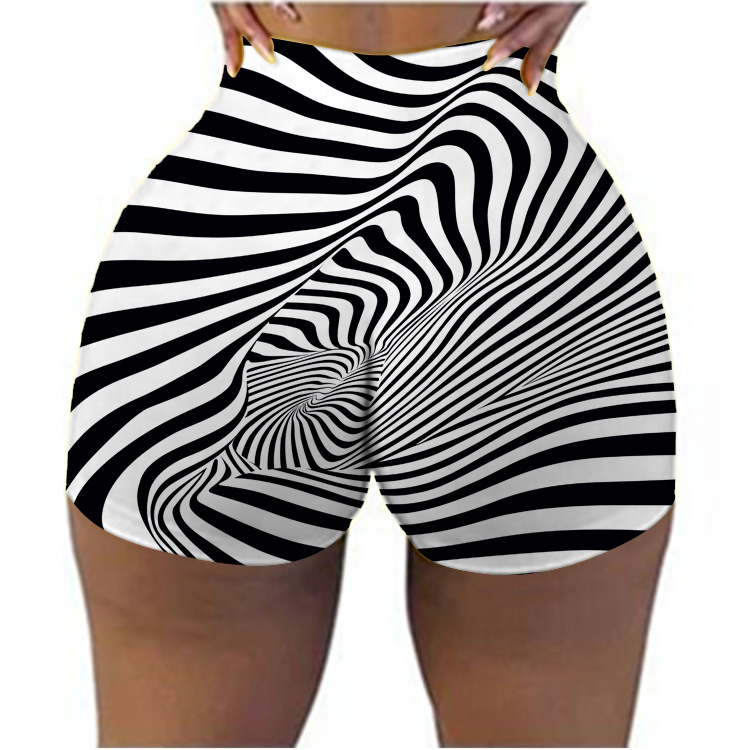 Striped flame print fashionable summer shorts
