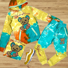 Load image into Gallery viewer, Fashionable yellow and blue violence bear hooded suit