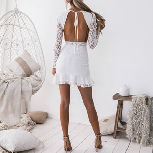 Open back waist lace dress