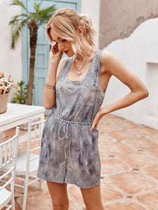Solid color casual jumpsuit shorts