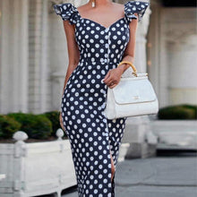 Load image into Gallery viewer, Polka Dot Petal Sleeve V-neck Ruffle Slit Dress
