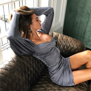 Sexy long sleeve pullover knit dress