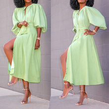Load image into Gallery viewer, Buttoned blouse and large swing midi dress