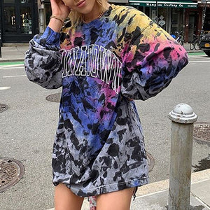Letter print sports autumn and winter round neck sweater