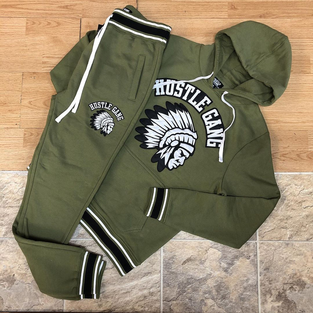 Fashionable olive green hustlegang printed hooded suit