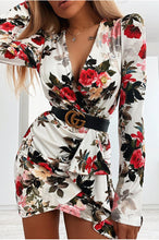 Load image into Gallery viewer, V-neck sexy floral long sleeve dress
