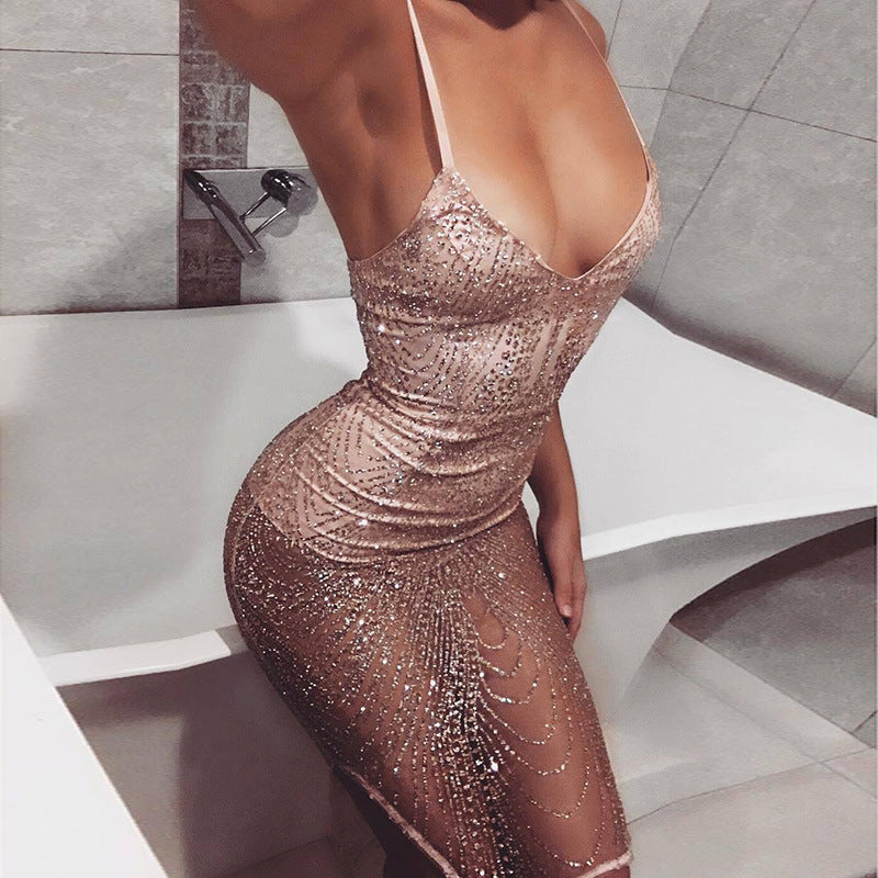 Mesh V-neck strapless sexy party dress