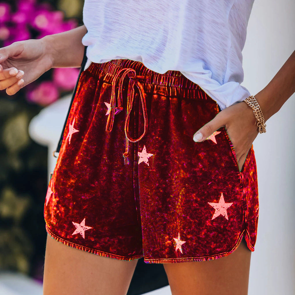 Printed elastic lace-up wide-leg loose shorts
