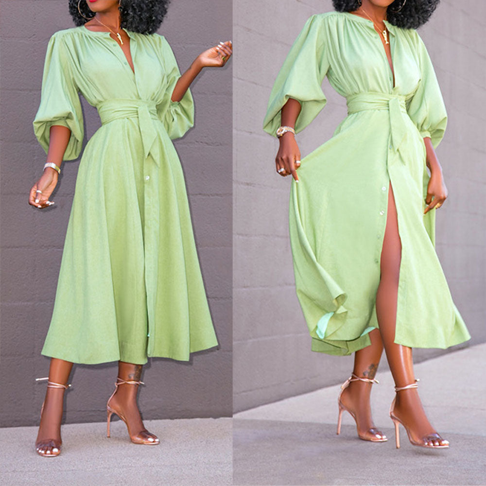 Buttoned blouse and large swing midi dress