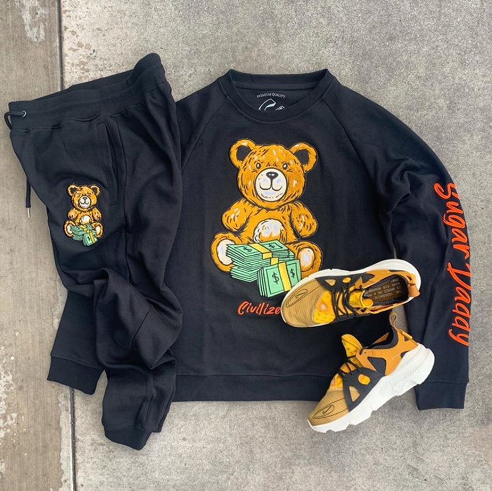 Bear cartoon print sports style suit