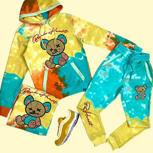 Fashionable yellow and blue violence bear hooded suit