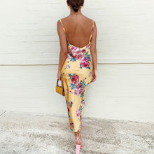 Load image into Gallery viewer, Sexy printed suspender beautiful back dress