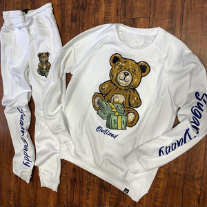 Bear and money cartoon print sports style suit