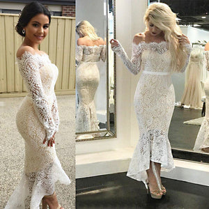 Long sleeve lace sexy dress with hips and shoulder
