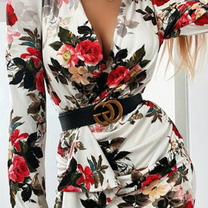 V-neck sexy floral long sleeve dress