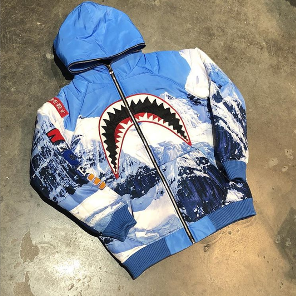 Shark tooth print sports hooded jacket