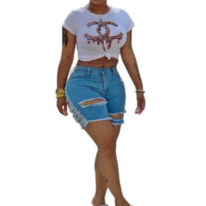 Ripped jeans denim short sexy women jeans