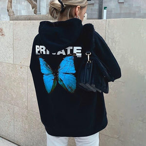 2020 Hooded Print Butterfly Long Sleeve Top