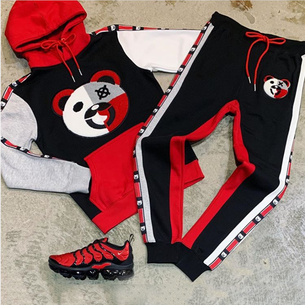 Bear cartoon print hoodie set