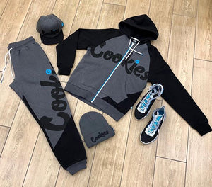 Grey and black cookies print sweatshirt and pant set