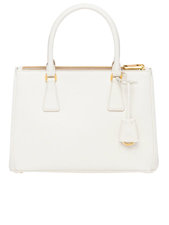 Small Saffiano Leather Galleria Bag in White