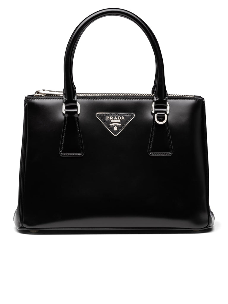 Galleria Brushed Leather Bag in Black