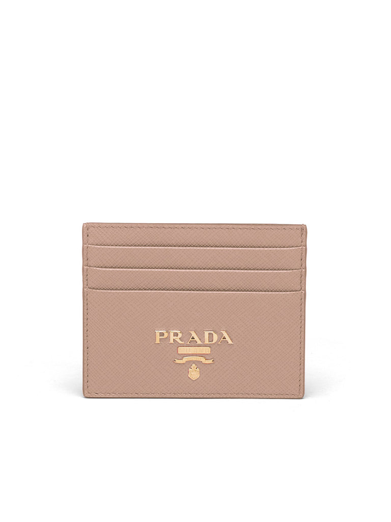 Saffiano Leather Card Holder in Powder Pink