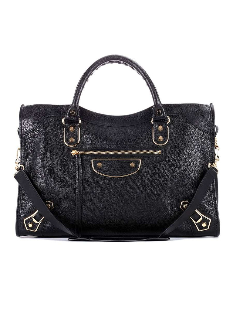Classic Metallic Edge City Medium Black Leather Tote