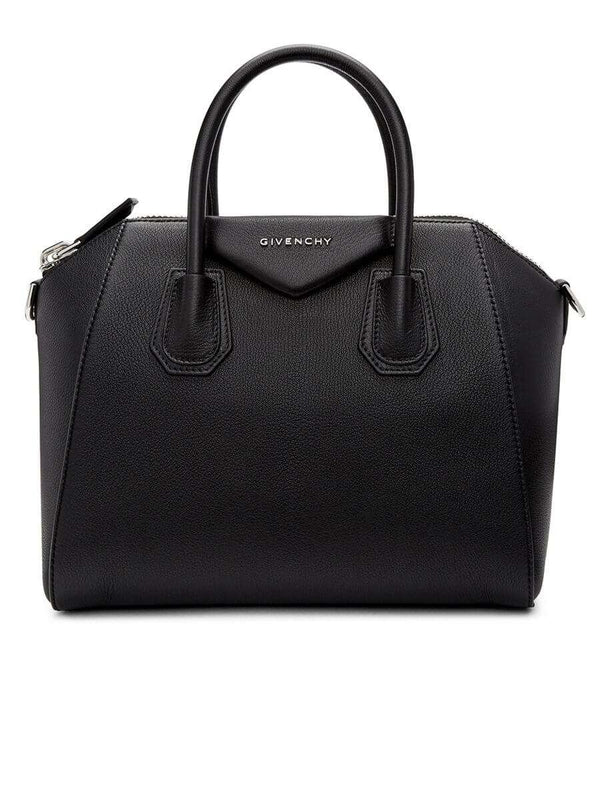 Antigona Small Black Grained Leather Handbag