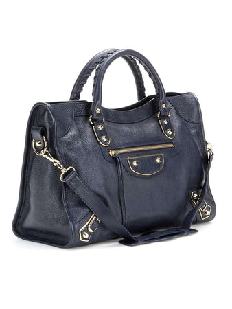 Classic Metallic Edge City Medium Blue Leather Tote left