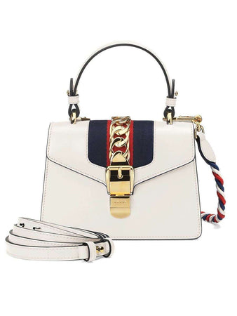 Sylvie Ivory Leather Mini Bag front