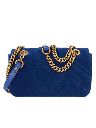 GG Marmont Mini Velvet Bag in Cobalt Blue