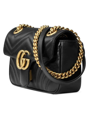 GG Marmont Mini Matelassé Black Leather Shoulder Bag design