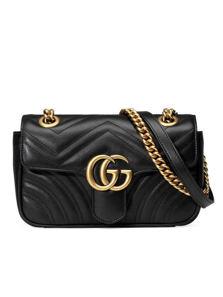 GG Marmont Mini Matelassé Black Leather Shoulder Bag