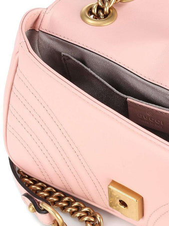 GG Marmont Mini Matelassé Pink Leather Shoulder Bag open